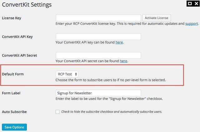 convertkit rcp default form