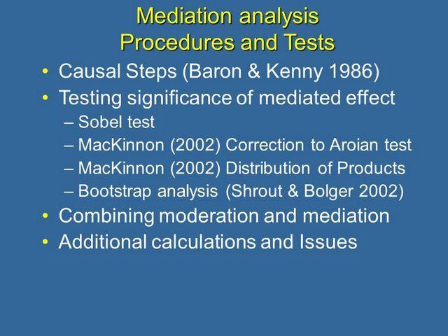 mediation aanalysis procedures and tests