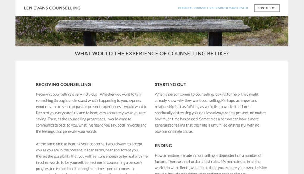 sample therapist website service description