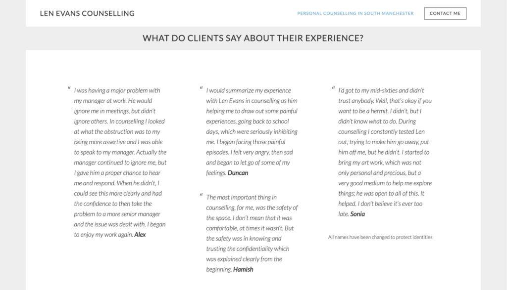sample therapist website testimonials