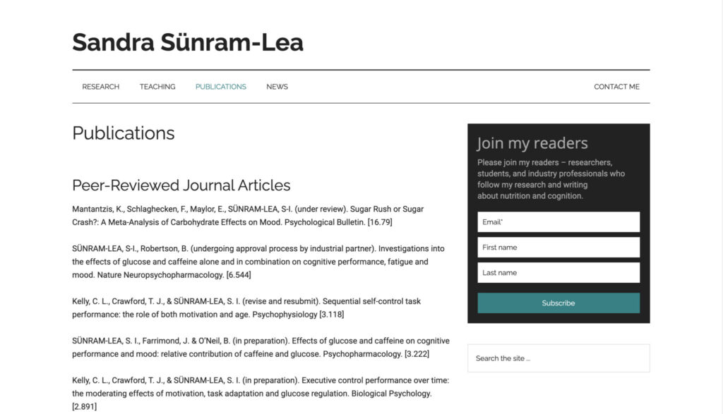 personal academic website example publications page